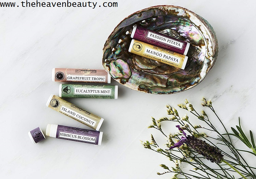 Lip balms - Art-Naturals Natural Lip Balm Beeswax with six different flavors like Hibiscus blossom, Island coconut, Eucalyptus mint, Grapefruit tropic, Mango papaya and Passion pitaya
