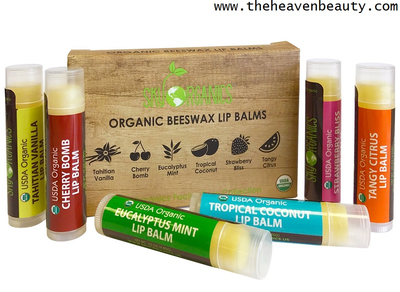 Lip balms - USDA Organic Lip Balm by Sky Organics with six different flavors (Tahitian vanilla, Cherry bomb, Eucalyptus mint, Tropical coconut, Tangy citrus and Strawberry bliss)